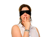 Woman with blindfold royalty free stock images