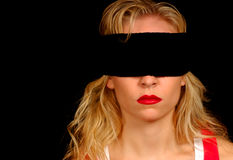 Woman Blindfolded Stock Image