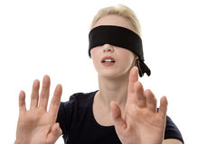 Woman blindfolded Stock Images