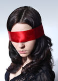 Woman with blindfolder Royalty Free Stock Photo