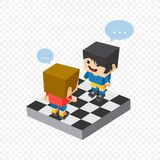 Woman block isometric cartoon character Stock Photography