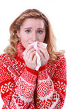 Woman with blocked nose and handkerchief Royalty Free Stock Photography