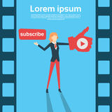 Woman Blogger With Like Thumb Up Video Blog. Flat Vector Illustration Royalty Free Stock Photos