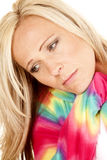Woman blond color pajamas head close down Royalty Free Stock Photography