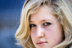 Woman with blond hair. Portrait of the young woman with blond hair Stock Photo