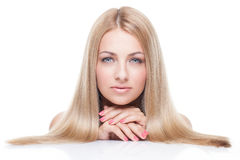 Woman with blond hair Stock Images