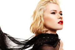 Woman with blond hair and black scarf Royalty Free Stock Photography