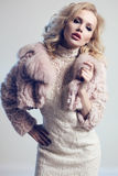 Woman with blond hair and bright makeup wearing  luxurious fur coat Stock Photos