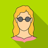 A woman with blond hair with glasses.A blind woman because of diabetes.Diabetes single icon in flat style vector symbol Royalty Free Stock Photo