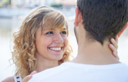 Woman with blond hair in love Stock Images