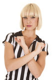 Woman blond ref arms crossed serious Stock Photo
