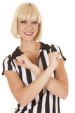 Woman blond ref arms crossed smile Royalty Free Stock Photos