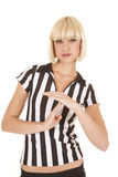 Woman blond ref time out. A woman referee calling a time out Royalty Free Stock Image