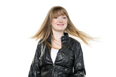 Woman blond waving hair Royalty Free Stock Images