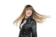 Woman blond waving hair Royalty Free Stock Photography