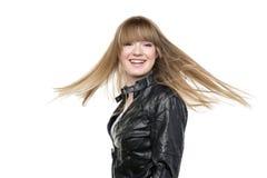 Woman blond waving hair Royalty Free Stock Image