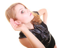 Woman blonde buisnesswoman listening isolated Stock Photography