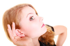 Woman blonde buisnesswoman listening isolated Stock Images