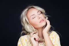 Woman with Blonde Curly Hair Rest Royalty Free Stock Photos