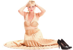 Woman blonde fashion model dress  Royalty Free Stock Photo