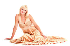 Woman blonde fashion model dress isolated Royalty Free Stock Image