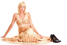 Woman blonde fashion model dress isolated Stock Photos