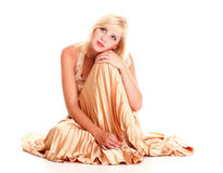 Woman blonde fashion model dress isolated Royalty Free Stock Photo