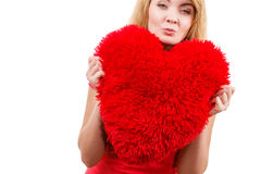 Woman blonde girl holding red heart love symbol Royalty Free Stock Photos