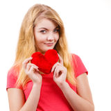 Woman blonde girl holding red heart love symbol Royalty Free Stock Photo