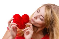 Woman blonde girl holding red heart love symbol Royalty Free Stock Photography