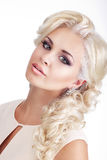 Woman Blonde with Glossy Silky Waved Hair Royalty Free Stock Images