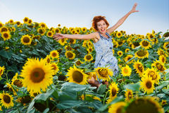Woman on blooming sunflower field Royalty Free Stock Image
