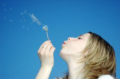 Woman blow of a dandeloin. Photo of a woman with a dandelion stock photo