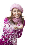 Woman blow snowflakes from hands. And smile,isolated on white Royalty Free Stock Image