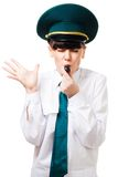 Woman blow whistle Stock Photos