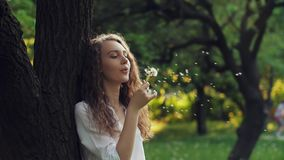 Woman Blow on a Dandelion. Woman blowing dandelion seeds at sunset stock video footage