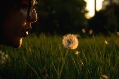 Woman Blowing Dandelion Royalty Free Stock Image