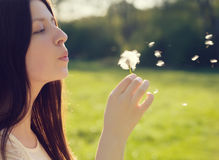 Woman blowing on a dandelion Royalty Free Stock Photo