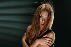 Woman with Blowing Hair Stock Photo