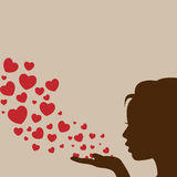 Woman blowing heart vector. Woman silhouette hand pretty girl blowing heart Stock Images