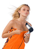 Woman blowing her hair Royalty Free Stock Images