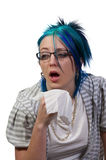 Woman Blowing Her Nose Royalty Free Stock Image