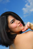 Woman Blowing kiss Stock Images
