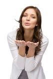 Woman blowing kiss Stock Photo
