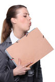 Woman blowing royalty free stock images