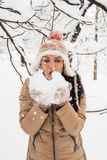 Woman blowing snow flakes Stock Photography