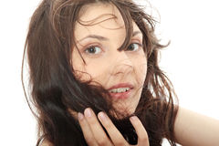 Woman with blown hairs Royalty Free Stock Photo