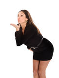 Woman blows kisses Royalty Free Stock Images