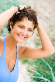 Woman in blue Stock Photography