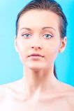 Woman on blue Royalty Free Stock Images